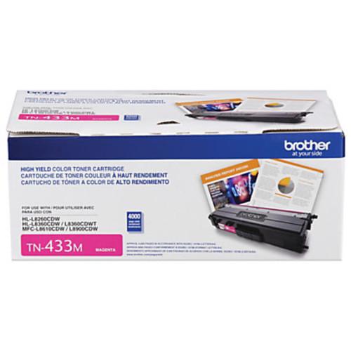Brother TN433 Series High-Yield Toner Cartridge, Magenta, TN433M