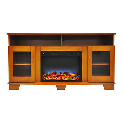 Cambridge Savona Electric Fireplace With Entertainment Stand, Multicolor LED Flame Display, Teak
