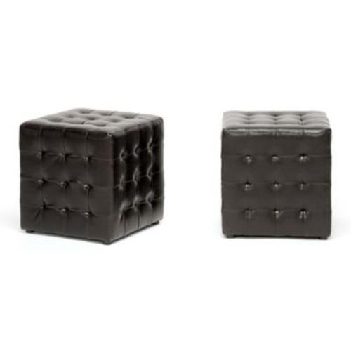 Baxton Studio Siskal Cube Ottomans in Dark Brown (Set of 2)