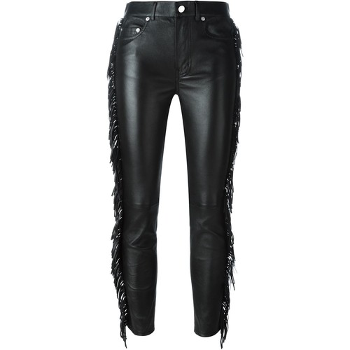 SAINT LAURENT Fringed Leather Trousers