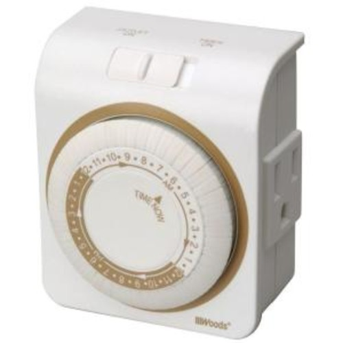 Woods 24-Hour Indoor Mechanical Lamp and Appliance Timer 3-Conductor - White