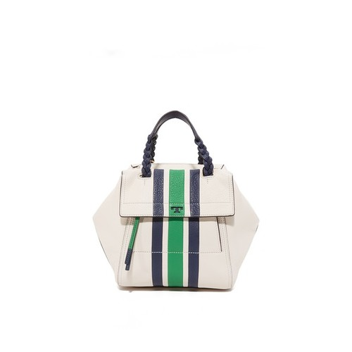 TORY BURCH Half Moon Small Stripe Satchel