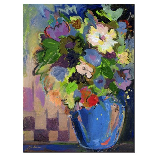 Trademark Global Sheila Golden 'Cobalt Vase with Purple' Canvas Art [Overall Dimensions : 18x24]