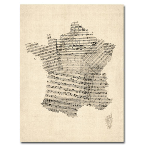 Trademark Global Michael Tompsett 'France - Music Map' Canvas Art [Overall Dimensions : 18x24]