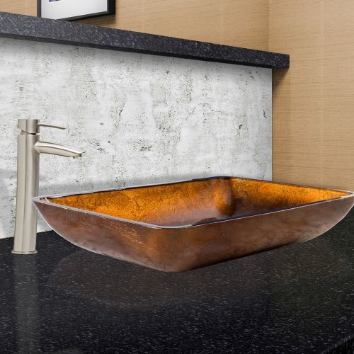 VIGO Glass Vessel Sink in Russet and Shadow Faucet Set in Brushed Nickel