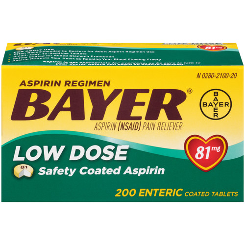 Bayer Aspirin, Low Dose, 81 mg, Enteric Coated Tablets, 200 tablets