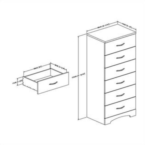 South Shore Step One 6 Drawer Chest in Pure White