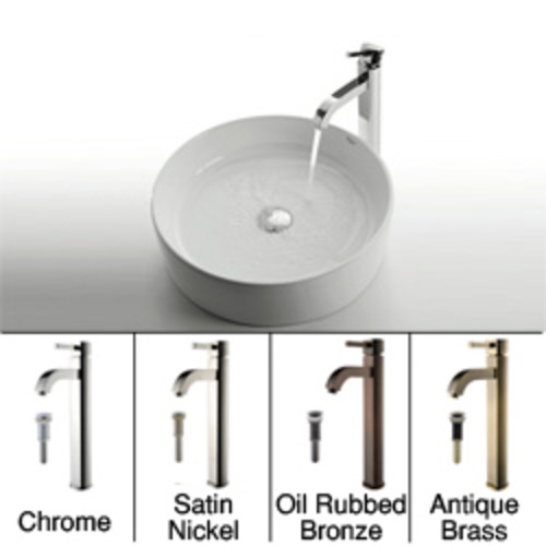 KRAUS Round Ceramic Vessel Sink in White with Sheven Faucet [option : Chrome]