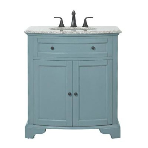 Home Decorators Collection Hamilton 31 in. W Vanity in Sea Glass with Granite Vanity Top in Grey with White Basin