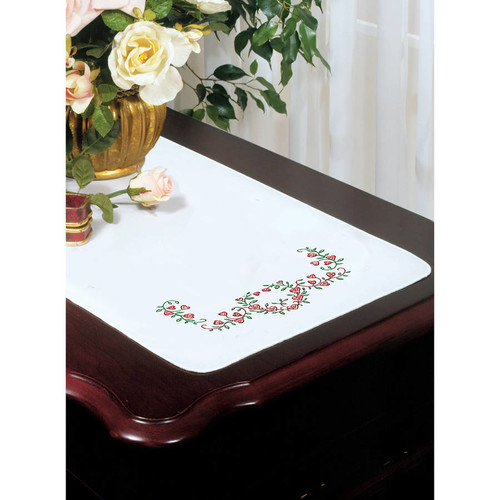 Stamped White Dresser Scarf For Embroidery, 14