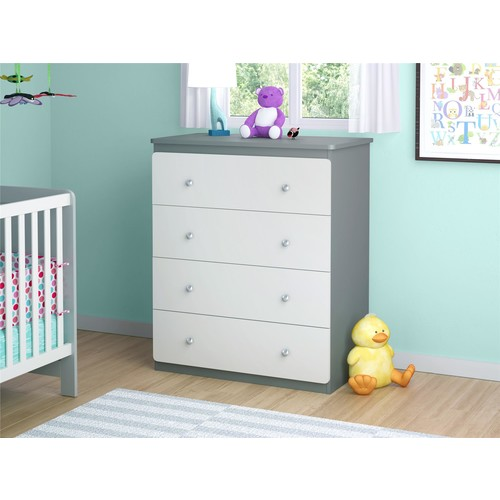 Ameriwood Home Willow Lake 4-Drawer Dresser- Gray and White