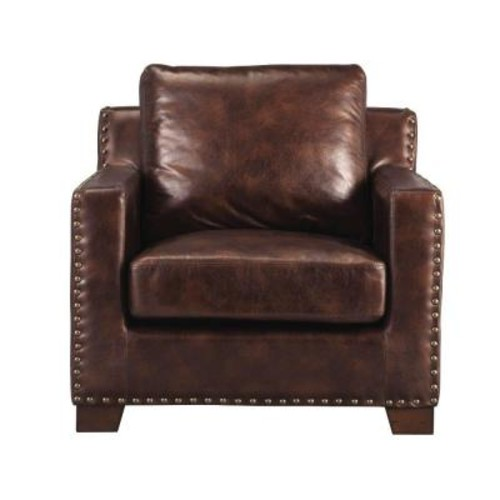 Home Decorators Collection Garrison Brown Bonded Leather Arm Chair