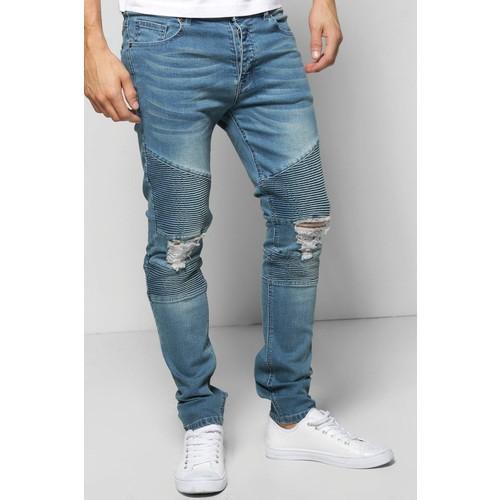 Mid Blue Biker Detail Skinny Fit Jeans