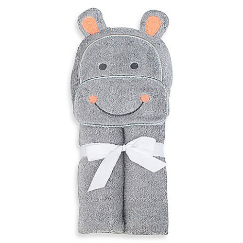 Just Bath by Just Born Love to Bathe Woven Hippo Hooded Towel in Grey