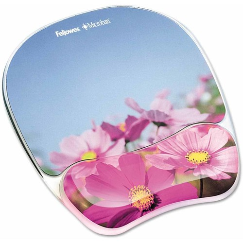 Fellowes Photo Gel Pink Flowers - Mouse pad with wrist pillow