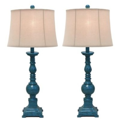 Urban Designs Kerry Distressed Polystone Pedestal 31'' Table Lamp Set (Set of 2)