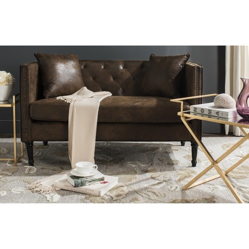 Safavieh Sarah Vintage Brown Tufted Settee With Pillows