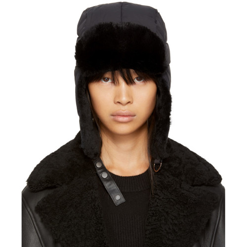 MACKAGE Black Quilted Fur Mezlan Hat