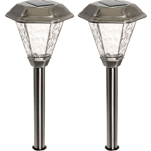 GreenLighting Adonis Solar Powered Integrated LED Stainless Steel Path Light (2-Pack)