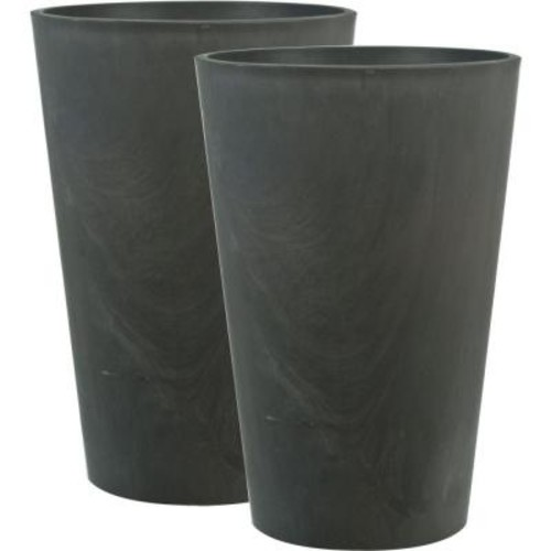 Pride Garden Products Venti 12 in. Charcoal Plastic Planter (2-Pack)
