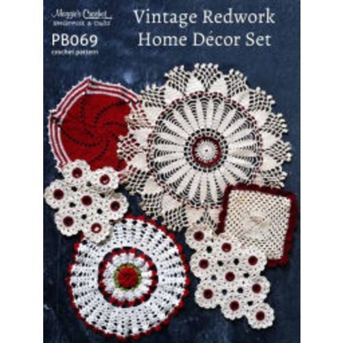 Crochet Pattern Vintage Redwork Home Decor PB069-R