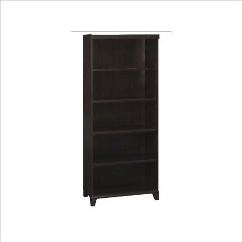 Bush Furniture Tuxedo 5 Shelf Bookcase in Mocha Cherry