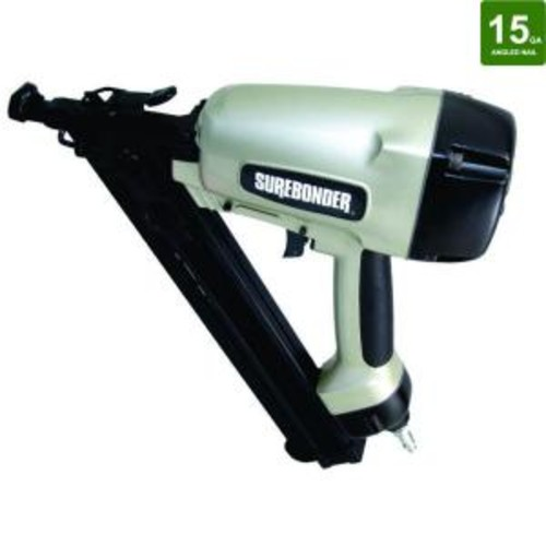 Surebonder Pneumatic 2-1/2 in. x 15-Gauge Angled Nailer with Carrying Case