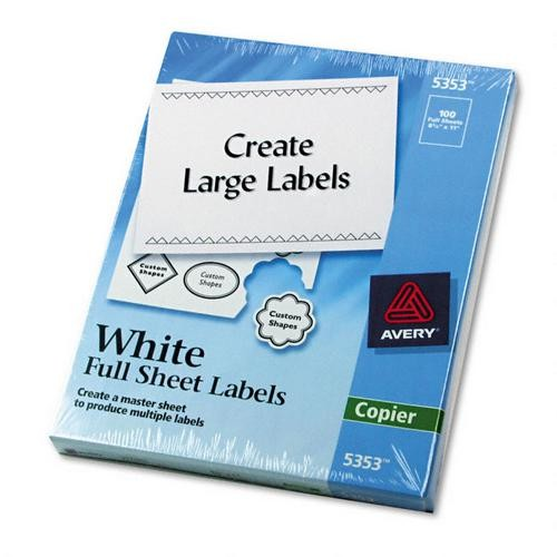 Avery Self Adhesive Address Labels for Copiers, White, 8 1/2 x 11, 100/Box (AVE5353)