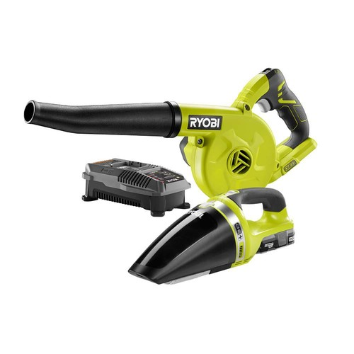 Ryobi 18-Volt ONE+ Lithium-Ion Cordless Sweeper and Vacuum (2-Tool) Combo Kit with (1) 1.3Ah Battery and Charger