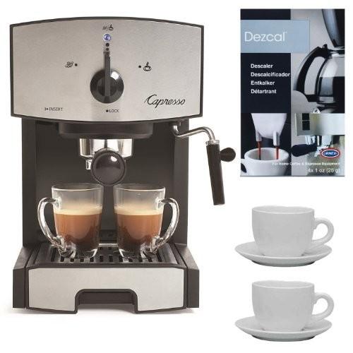 Capresso EC50 Stainless Steel Pump Espresso and Cappuccino Machine + Two 13oz White Tiara Cappuccino Cups + Accessory Kit