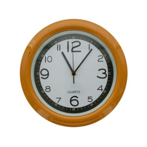 Round Simulated Wood Wall Clock (Pack Of 1)