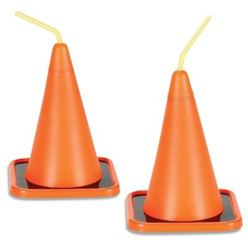 4ct Construction Cone Cup & Straw