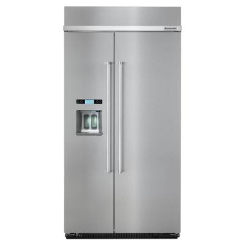 KitchenAid 42 in. W 25.2 cu. ft. Built-in Side by Side Refrigerator in Stainless Steel