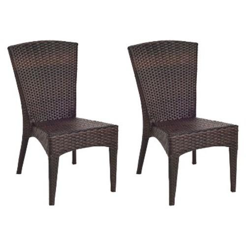 Safavieh Nantucket 2-Piece Wicker Patio Side Chair Set