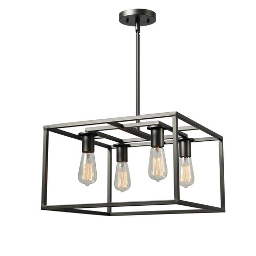 Kenroy Home Cubed 4-Light Graphite Chandelier