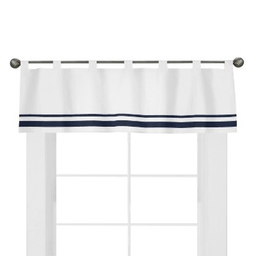 Sweet Jojo Designs Hotel Window Valance in White/Navy