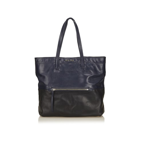 Pre-Owned: Leather Madras Tote