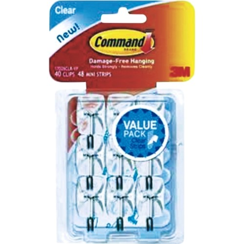 Command Mini Clear Wire Hooks With Strips Value Pack 9/Pack (17067CLR-VP) - 4/Box