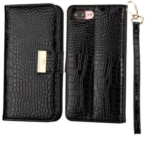 Insten Black Stand Folio Flip Crocodile Skin Leather Wallet Flap Pouch Case Cover For Apple iPhone 7 Plus