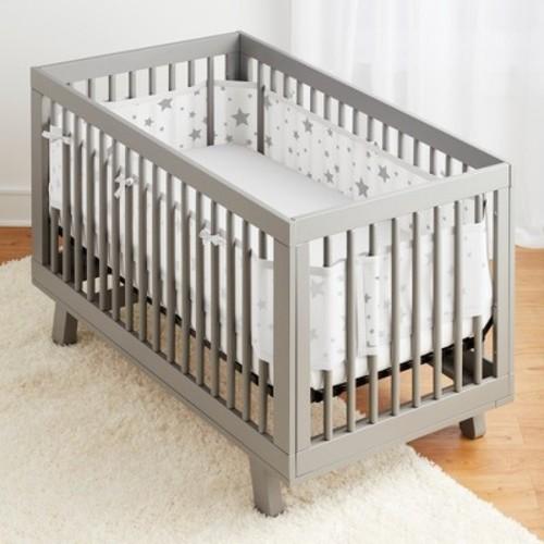 BreathableBaby Mesh Crib Liner - Star Light Gray/White