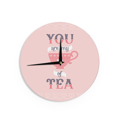 KESS InHouseDaisy Beatrice 'My Cup of Tea' Pink Purple Wall Clock
