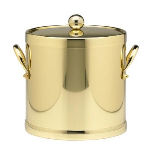 Kraftware Americano 3 Qt. Polished Brass Ice Bucket and Lid, Metal Side Handles
