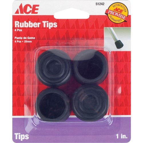 Ace Plastic Round Leg Tip Black 7/8 in. W 4 pk(9114/ACE)