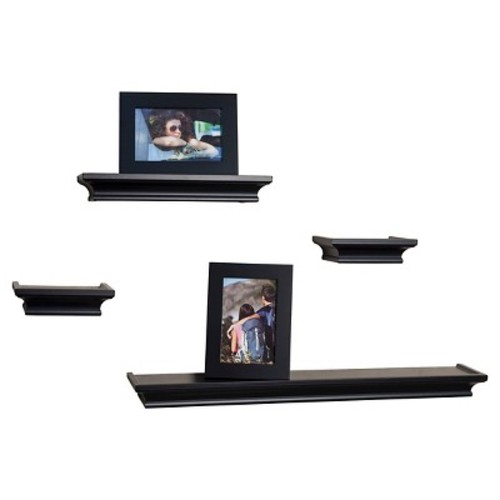 Danya B. Cornice Ledge Shelves with Photo Frames  Set of 4  Black