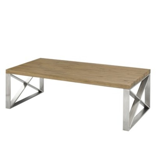 Rempe Stainless Steel Distressed Wood Coffee Table