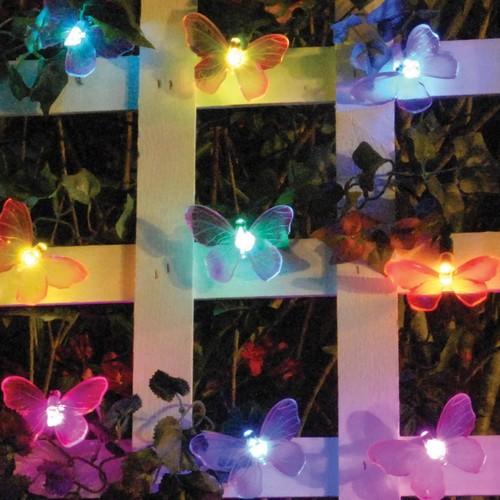 Smart Garden Multi Color Butterlfy LED Solar String Lights