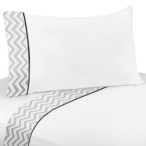 Sweet Jojo Designs Zig Zag Queen 4-Piece Sheet Set in Grey/Black