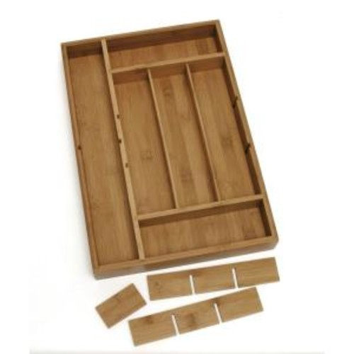 Lipper International 2 in. x 12 in. x 17.5 in. Bamboo Adjustable Drawer Organizer