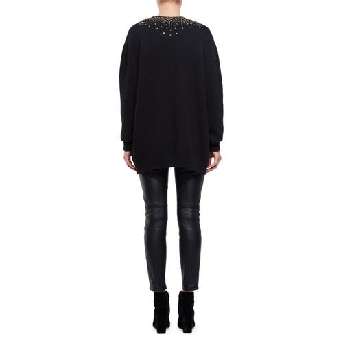 SAINT LAURENT Knit Sequin-Dusted Cardigan Sweater, Black