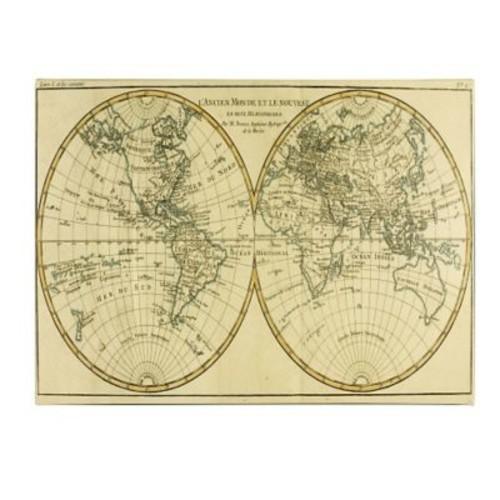 Trademark Fine Art Charles Bonne 'World Map in Two Hemispheres' Canvas Art